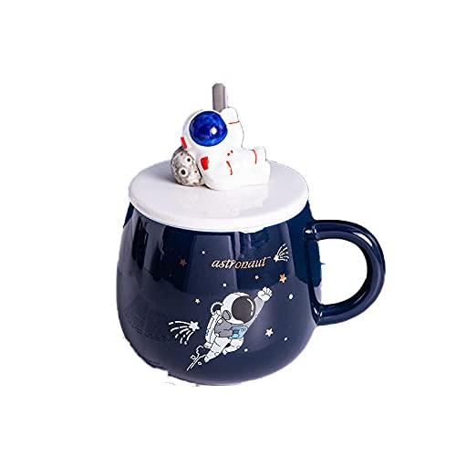 Taza taza con cuchara de tapa taza de cerámica de dibujos animados lindo oficina en casa taza de café-B (con cuchara de tapa) _401-500ml