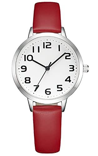 KDM Uhr Damen Wasserdicht Minimalismus Damenuhr Lederarmband Damen Armbanduhr Kleid Elegant Beiläufig Damenuhren Designer Analoge Quarz Uhren für Damen Mädchen Rot