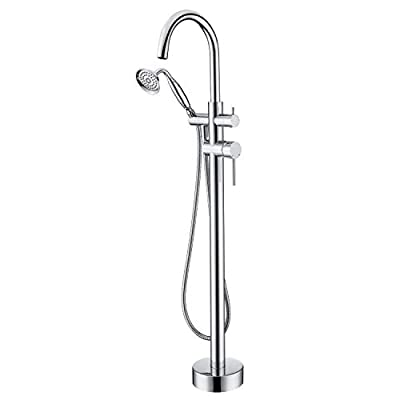 Wowkk Tub Filler Freestanding Bathtub Faucet Chrome Floor Mounted Brass Bathroom Tub Faucets with Hand Shower