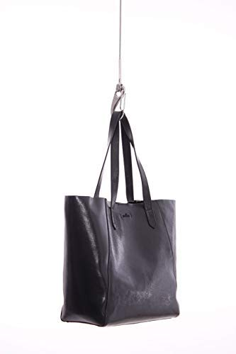 Hogan SHOPPING BAG IN PELLE LUCIDA NERA, Donna, Taglia Unica.