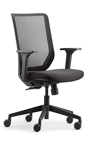 Trendoffice to-sync mesh Easy, ergonomischer Bürostuhl, schwarz, mit Armlehnen, modernes Design, Homeoffice, umweltzertifiziert, by Dauphin