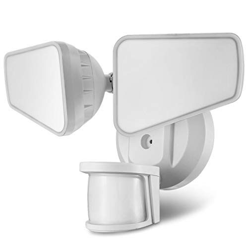 STASUN LED-Sicherheitslicht, 2200lm, 32W ausenlampen mit 240° bewegungsmelder, 5000K, 2 Flutlicht mit verstellbarem Kopf,Außenstrahler für Garten, Garage, Viereckiger Kopf