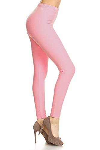 LDX128-Pink Basic Solid Leggings, Plus Size