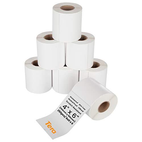 Tera 100mm x 150mm Etiquetas de Dirección Grande (250 Etiquetas/Roll x 6 Rollos) para Varias Impresoras Etiquetas de Impresión Sin Mancha BPA Etiquetas de Envío Térmico Adhesiva con Pegatinas de Signo