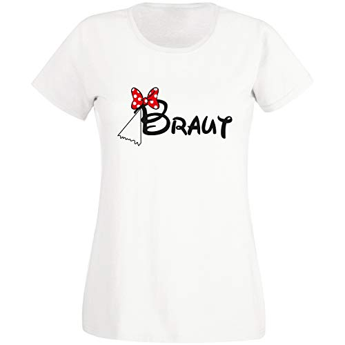 Shirt-Panda JGA T-Shirt Damen Team Braut Maus · Junggesellinnenabschied T Shirt · Viele Farben · Größen XS - XXL Weiß - Braut L