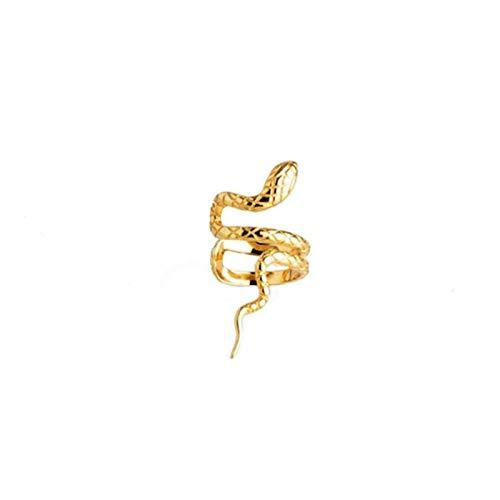 Pendientes de Oreja de Plata de Ley 925 auténtica de Color Dorado y Plateado para Mujer Pendiente con Clip de Oreja de Serpiente sin joyería Perforada en Forma 1, Oreja Izquierda