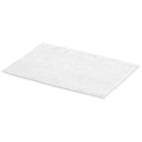 Amazon Basics - Alfombra de baño, de espuma viscoelástica y rizo de chenilla, Blanco, 50 x 80 cm