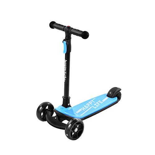 OWEM Scooter Simple y Moderno Scooter de Juguete para Montar para niños Plegable Estructura de Altura Ajustable Estable para Juegos al Aire Libre Deportes niños Parque,Azul