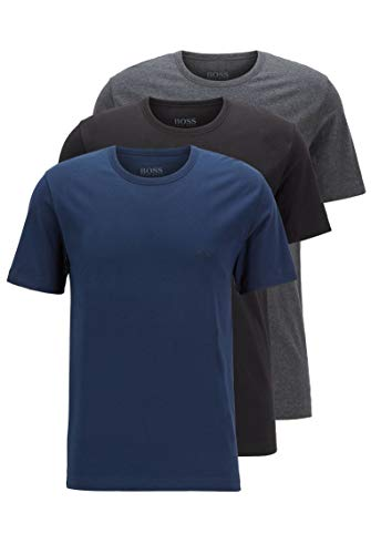 BOSS T-Shirt RN 3p Co Camiseta para Hombre, Azul (Open Blue 497), Medium, pack de 3