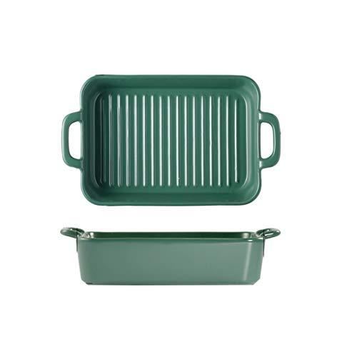Stevige Nordic Keramische Stereofonisch Bakplaat Magnetron Oven met Persoonlijkheid Rijstkom Creatieve Platte Plat Twee Packs Mooie Green a