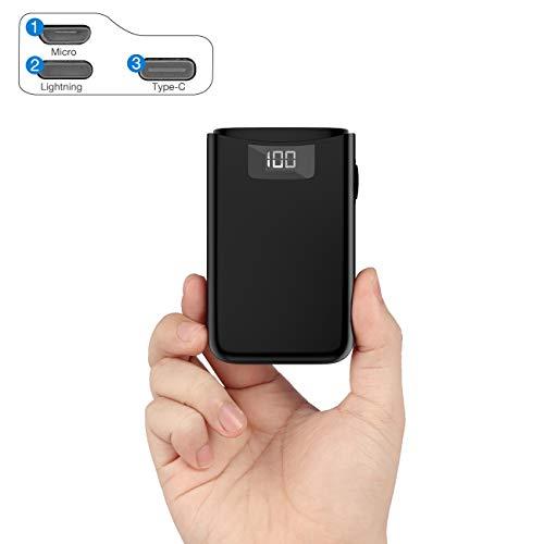 POSUGEAR Powerbank 10000mAh, Caricatore Portatile con 3 Ingressi di USB C/Micro/L ightning, 2 Uscite e LED Dispaly Compatibile con Tutti i Telefoni e