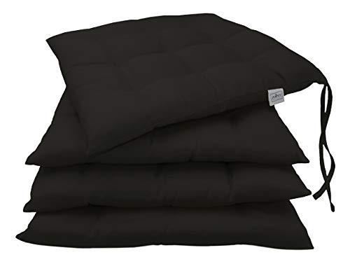 ZOLLNER 4 Cuscini da Sedia per Dentro e Fuori, 40x40 cm, Nero, Altri Colori