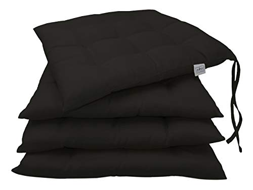 ZOLLNER set of 4 chair cushions, ca. 40x40 cm, black (others available)