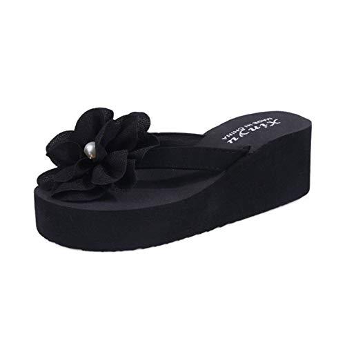 JXILY Sandalias De Mujer Sandalias Negras con Flip-Flop Playa Sandalias Y Zapatillas De Gran Tamaño Moda Verano Ocio Cómodo ANTILLO,Negro,40