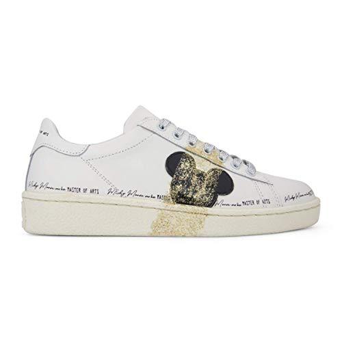 MOA Master of Arts MD355 Disney Mickey Sportive Schuhe aus Leder, Weiß, Weiß - Bianco - Größe: 36 EU