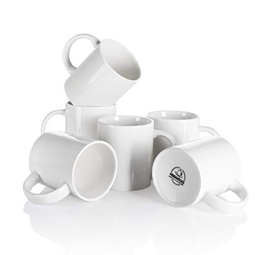 Mugaholics White Coffee Mug Set - 11 Ounce Ceramic Mug Set with Handle - White Coffee Mugs for...