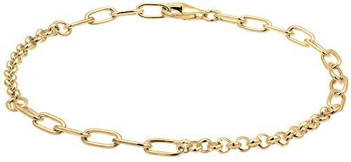 Nenalina Damen Charm Träger Armband 925 Sterling Silber vergoldet, Breite 4 mm, Länge 18 cm verstellbar, Frauen Charmarmband passend für alle gängigen Charmsanhänger, Farbe Gold, 0203930619_18