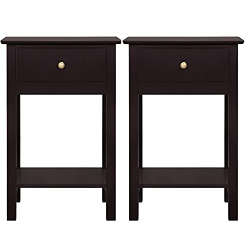 Topeakmart 2-Tier Modern End Side Table with Drawer and Shelf, Small Vintage Storage Cabinet for Living Room Office Narrow Space, Set of 2, Espresso