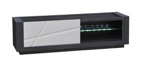 Sciae 13St3310 Quartz 67, TV-Media-Lowboard mit 1 Schiebetür, 150 x 45 x 50 cm, Korpus Esche-Dunkelgrau, Hochglanz-weiß-lackiert