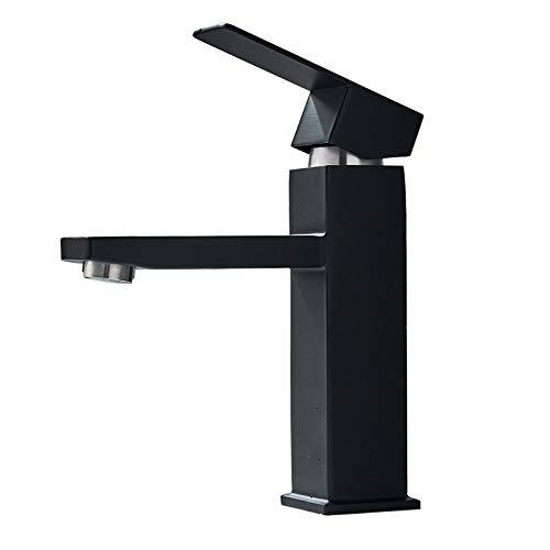 GFHDGTH Mattschwarz Waschbecken Wasserhahn, Waschtisch-Einhebelmischer, kalt und warm, Chrom/Gold gebürstet, schwarz mit gebürstet