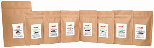 GARNELEN4YOU® FeedLine Samples | 8er Probeset unserer beliebten Futter-Sticks/Chips für Garnelen, Krebse und Schnecken | 7 Sorten Plus Seemandelbaumblätter | regional, sozial, nachhaltig