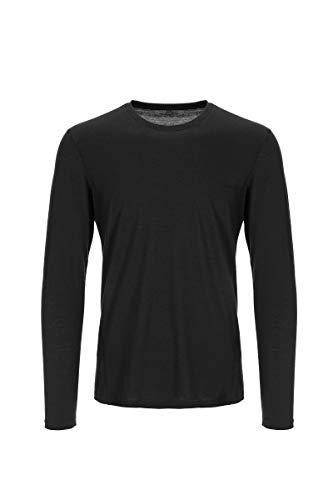 super.natural Camiseta de Manga Larga para Hombre, Lana Merina, M Base LS 175, Talla: L, Color: Negro