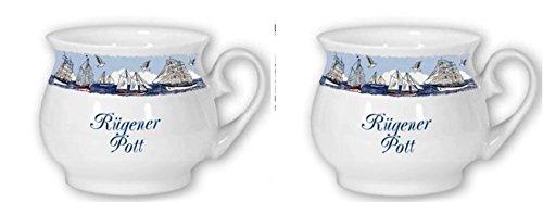 magicaldeco 2er Set- Maritim Porzellan- Tasse, Kaffeepott, Becher- Rügener Pott -deutsches Produktdesign