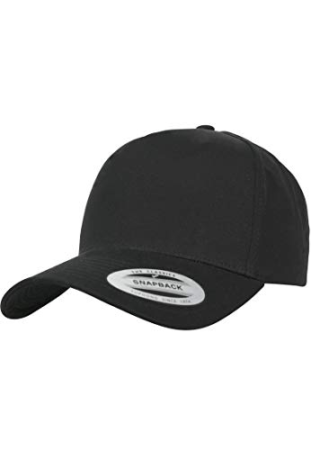 Flexfit 5-Panel Curved Classic Snapback Kappe, Black, One Size