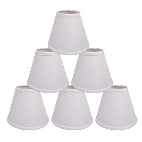 ONEPRE Creme Clip für Kronleuchter Lampenschirme Hardback Kerze Leinen Lampenschirm cremefarben 15,2 cm 6er Set, weiß