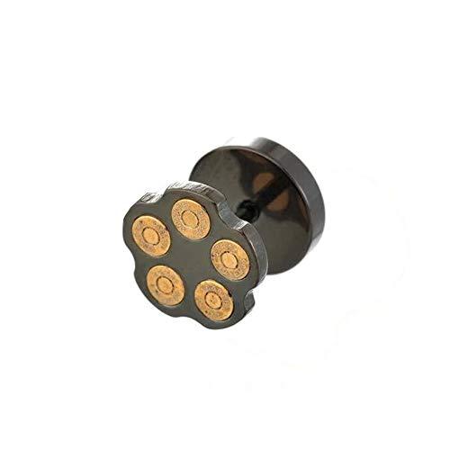 BlackAmazement Fake Plug 316L Edelstahl Bullet Patrone Kugel Tommel Magazin Magnum Silber schwarz Biker Herren (Schwarz)