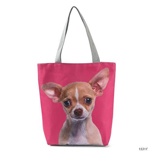 HLD leuke schaaper-print schoudertas leuke hond reis-boodschappentas dames stoffen tas strandtas schoudertassen