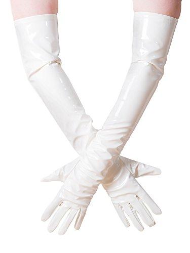 Lange PVC Dames Handschoenen - Wit Medium Maat & Lengte | Sexy Fetish