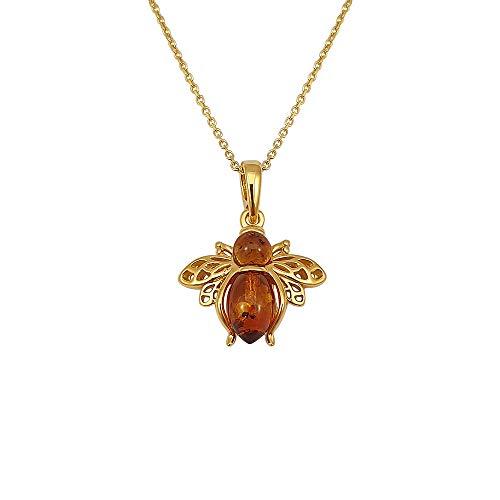 Kiara Jewellery Collar de plata de ley 925 chapado en oro amarillo con colgante de abeja incrustado con ámbar báltico marrón en cadena de plata de ley de 45,72 cm.