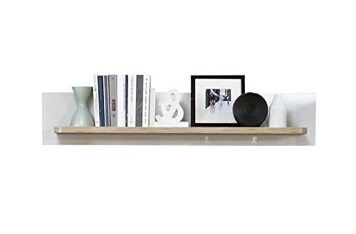 Möbel Jack Wandboard Wandregal Wandpaneel | Dekor | Planked Eiche | Weiß Hochglanz | Breite 130 cm