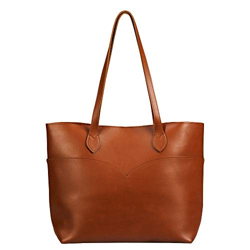 Brown Tote Bag For Women Vegan Leather Large Simple Vintage Shoulder Handbag Classic Purse