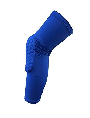 Knieschützer 1Pcs Breathable Honeycomb Knieschützer Sport-Fußball-Basketball-Knie-Klammer-Bein-Hülsen Calf Compression Kniestütze Schutz (Color : Blue, Size : XL)