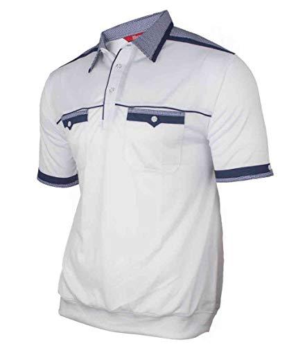 Soltice Herren Kurzarm Poloshirts mit versch. Kragen Muster, gestreifte Polohemden, Blousonshirts (M bis 3XL) (2XL, [D1] Weiß)