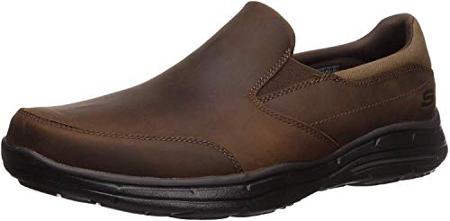 Skechers Men's Glides Calculous Slip-On Loafer,Dark Brown,10 M US