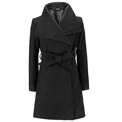tiowea dames casual omslagkraag lange mouwen vaste riem lange wol jas jas jas Large zwart