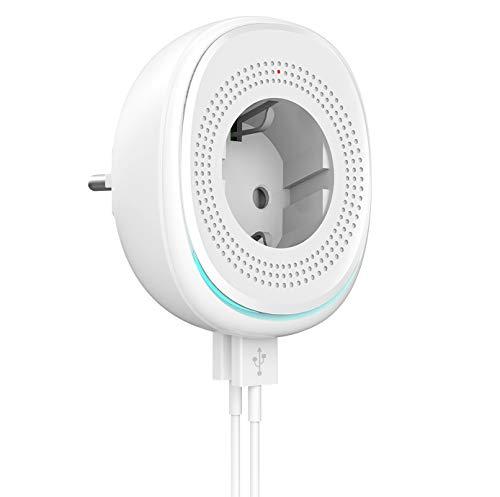 MoKo WiFi Enchufe Inteligente con 2 Puerto USB y Luz LED, Smart Mini Plug de Energía del Zócalo del Interruptor Funciona con Alexa Echo SmartThings Google Home, App Control y Función de Temporizador