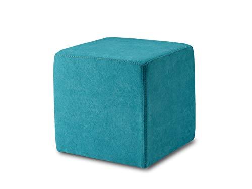 ESTA-Design KUBI, Pouf, Hocker, Sitzwürfel, 40 x 40 cm, PU-Schaum, Pflegeleichter Bezug Möbelstoff, stabile Füße, bis 150 kg, (türkis)