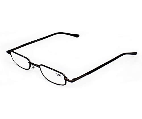 Mini Gafas de Lectura Vista Cansada Presbicia, Graduadas Dioptrías +1.00 hasta +3.50, Gafas de Hombre y Mujer Unisex con Montura Fina, Bisagras Standard, Para Leer, Ver de Cerca (+350, Marrón)