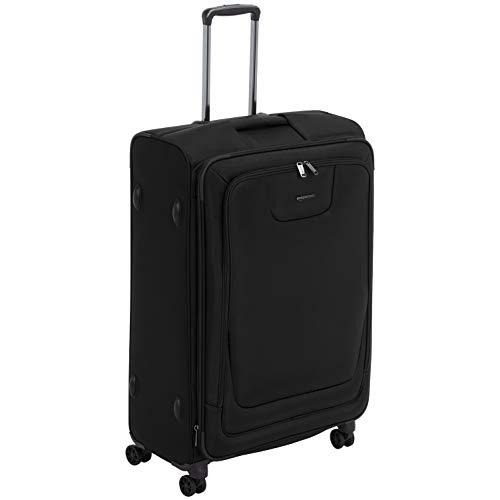 Amazon Basics, Premium, valigia espandibile, morbida, con rotelle multidirezionali e chiusura TSA, 74 cm, Nero