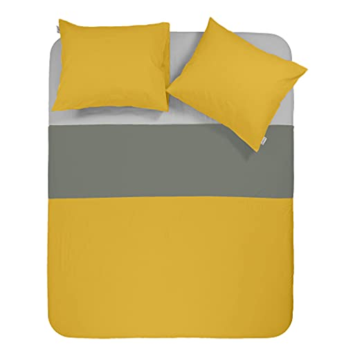 Y-NOT Funda de edredón Doble Antra Amarillo con Fundas de Almohada, 135 x 220 cm