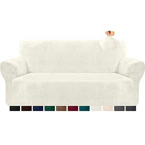 Kiduck 1-Piece Velvet Plush Sofa Slipcover Non Slip Soft Couch Cover for 3 Cushion Couch Super Stretch Universal Sofa Covers Furniture Protector for Kids,Pets (Large, Creamy White)