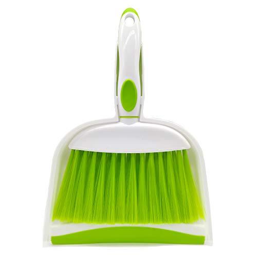 BSMstone Mini Broom and Dustpan Set-Mini Whisk Set for Desk, Housekeeping, Office, Kitchen, Pet Nest, etc,Daily Cleaning Necessity Plastic Mini Dustpan Set (Green)