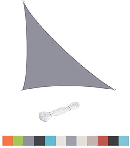 Triangle Sun Shade Sail, piscinas al aire libre, jardín, patio, impermeable, 98%, toldo anti-UV con protector solar, varios tamaños, fácil de limpiar (verde 4 x 4 x 5,7)-Gris_4 x 4 x 5,7 0313