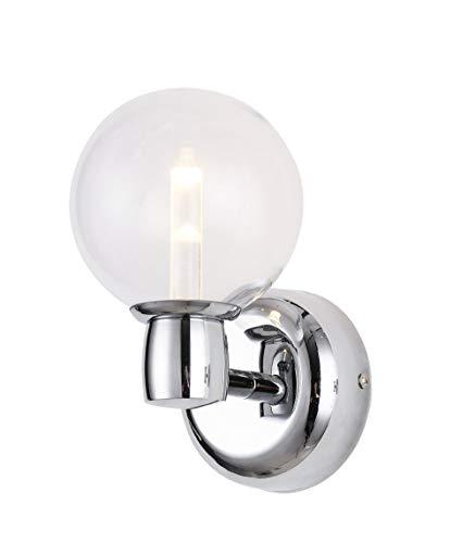BETLING Wandbeleuchtung IP44 Badlampe Wandleuchte Spiegellampe Schmink Eitelkeit Wandlampe Flurlampe mit Cree Chip 5W Warmweiss, Chrom mit Klarglas