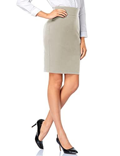 Tapata Falda Lápiz Elástica de Mujer Cintura Alta Longitud de La Rodilla Ponte Oficina Trabajo Bodycon Midi Falda, Arenisca, Espalda Abertura, S