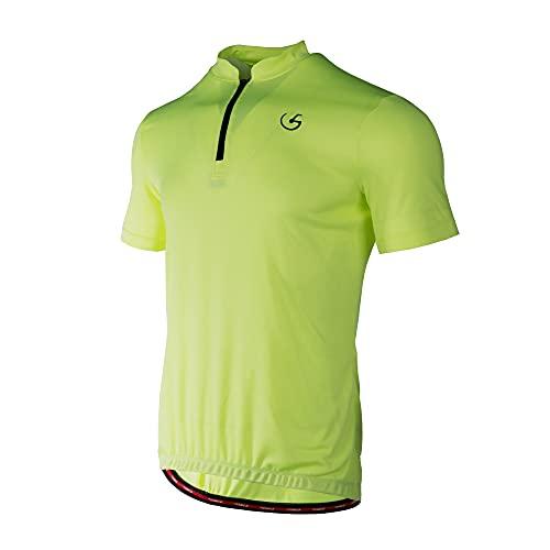Lohca Men's Cycling Jersey Short Sleeve Biking Shirt Top Breathable 4 Back Pockets, Yellow M